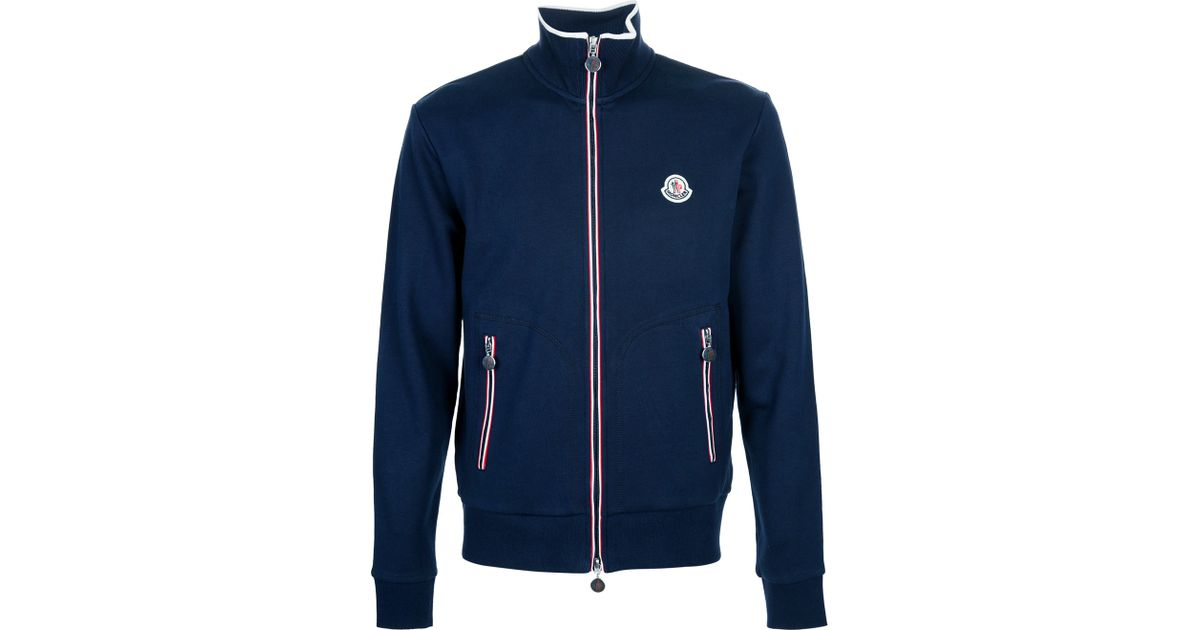 e613ad439 Moncler Zip thru Track Top in Blue for Men - Lyst