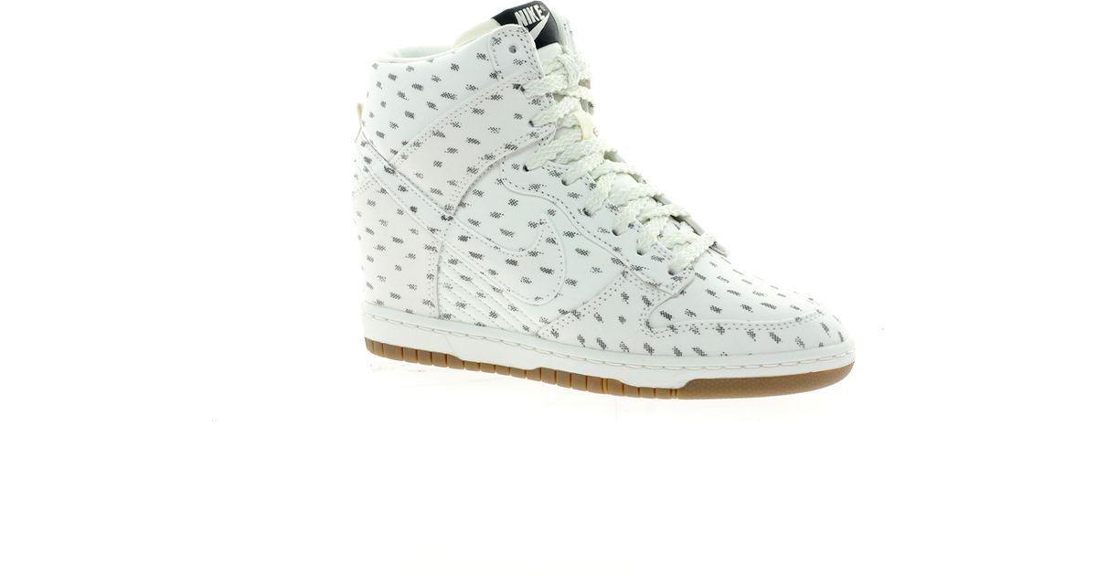 Lyst - Nike Dunk Sky High Top White Wedge Sneakers in Green 08bc47b5716e
