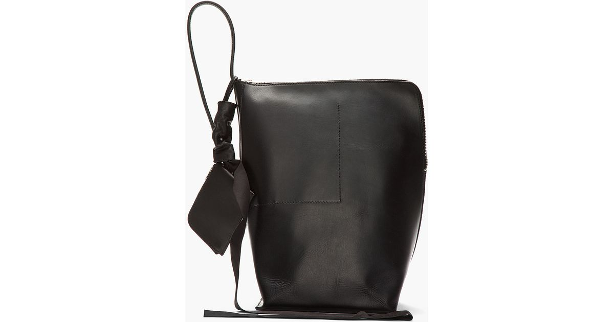 Lyst Rick Owens Black Triangular Leather New Bucket Bag In For Men