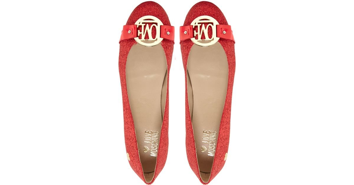 Lyst - Love Moschino Glitter Flat Shoes in Red 8dc3bd7eea