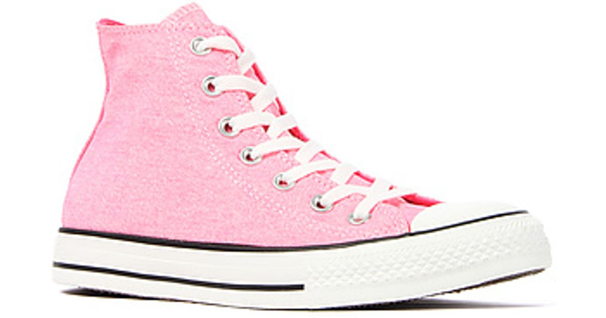 6cda4de48152 Lyst - Converse The Chuck Taylor All Star Hi Sneaker in Washed Neon Pink in  Pink