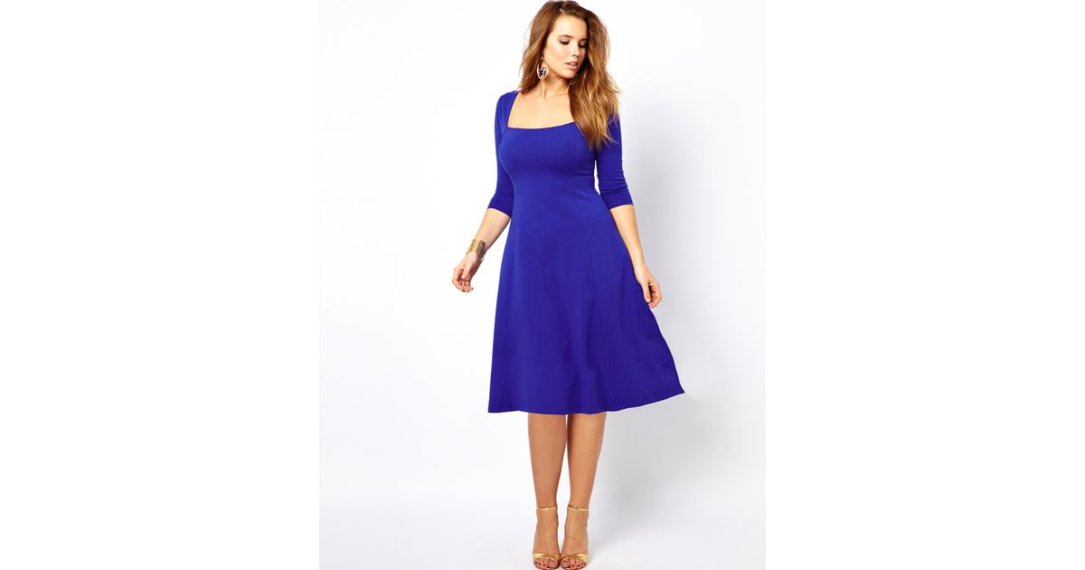Lyst - Asos Jersey Midi Dress with Three Quarter Sleeves in Blue