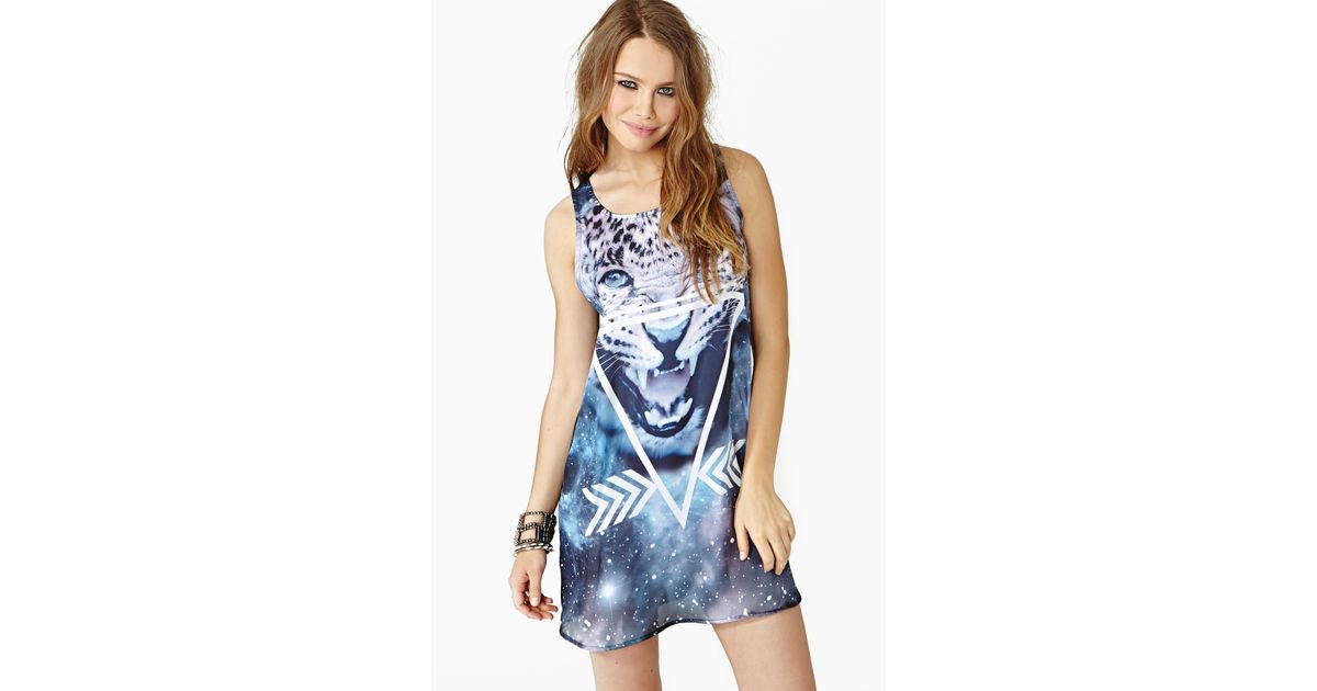 0e51b02a56 Lyst - Nasty Gal Space Cat Tank Dress in Blue