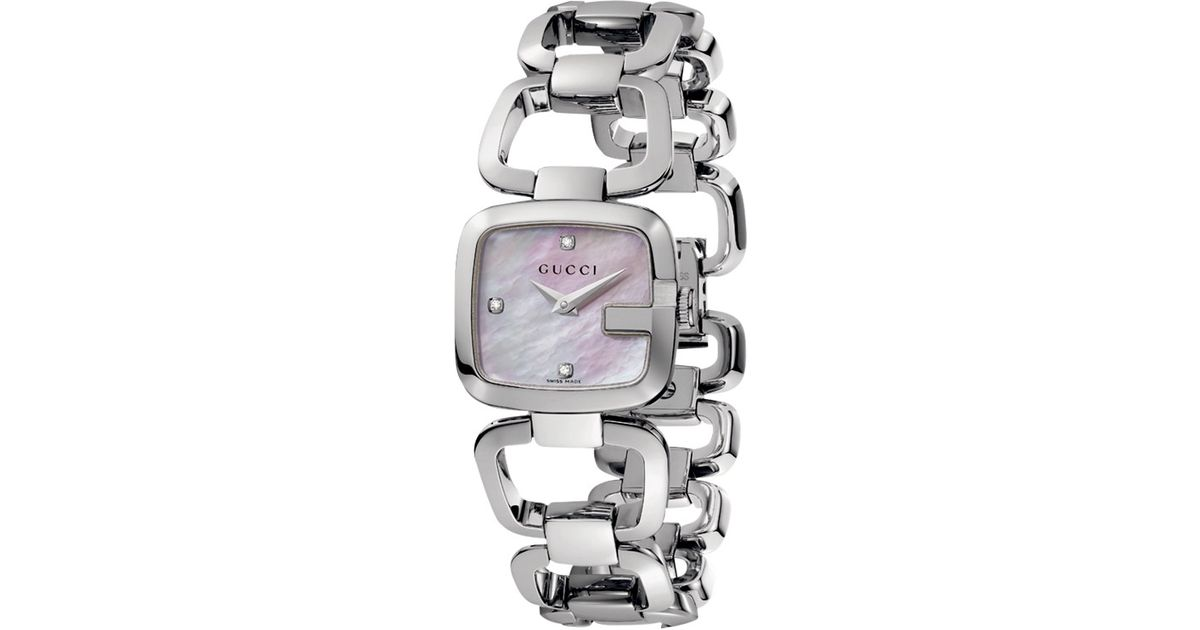 ef213ea4e0e Gucci Womens G Pink Mother Of Pearl Square Diamond Dial Bracelet Watch in  Metallic - Lyst