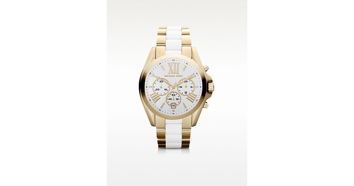 a462a69c070ca Michael Kors Bradshaw Gold Tone White Chronograph Watch in Metallic - Lyst