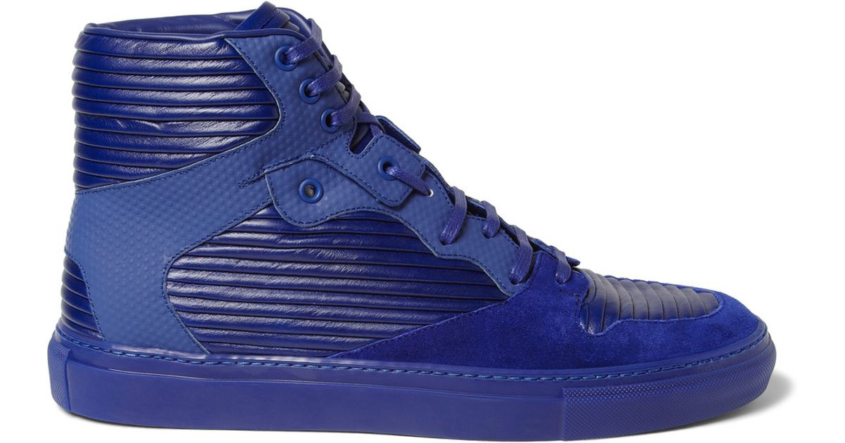 e790f353dd7e Lyst - Balenciaga Paneled Leather and Suede High Top Sneakers in Blue for  Men