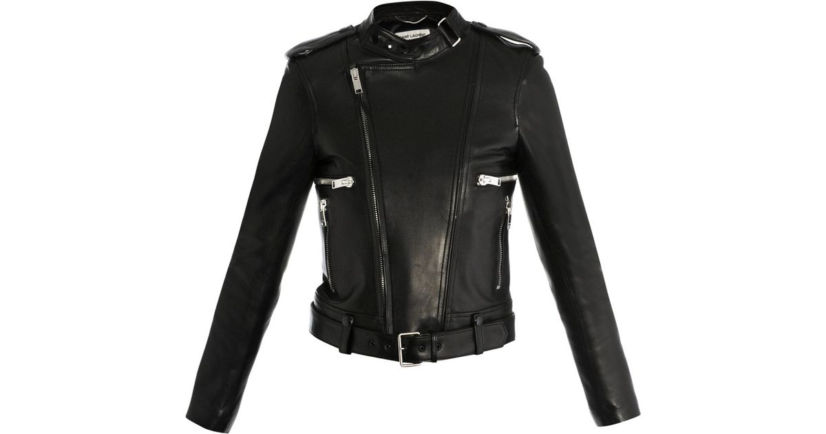 152d5535165 Saint Laurent Leather Biker Jacket in Black - Lyst