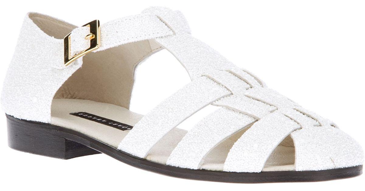 c08287b215fab Lyst - Susana Traça Strappy Flat Sandal in White