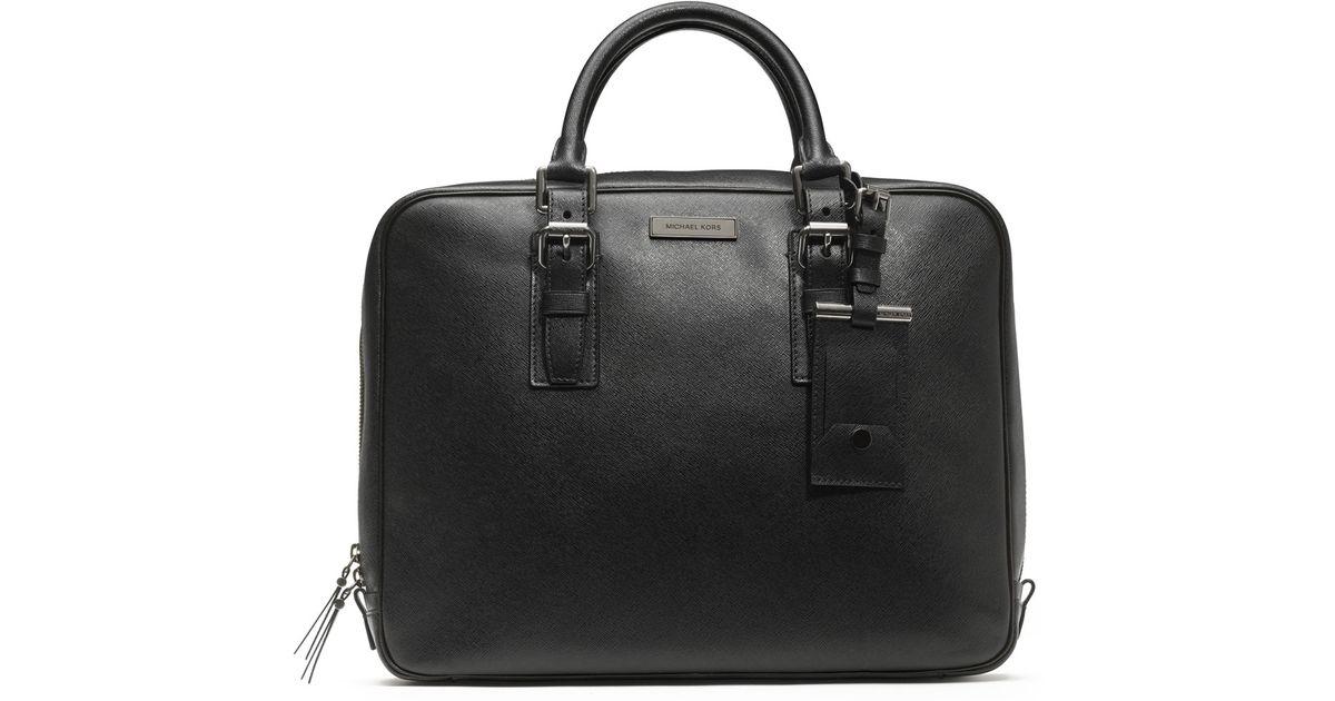 9c9fe2ed6c68 Lyst - Michael Kors Saffiano Briefcase in Black for Men