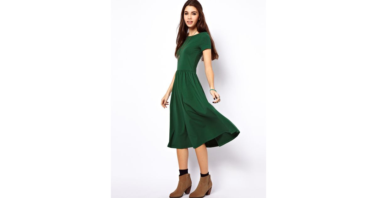160d14c27046 ASOS Midi Dress With Short Sleeves. in Green - Lyst