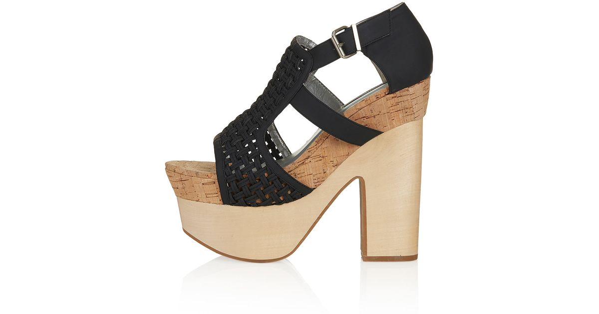dfd715cea76 Lyst - TOPSHOP Chunky Wood Sandals in Black
