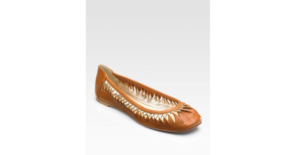 Christian louboutin Gazelle Squaretoe Leather Flats in Brown ...
