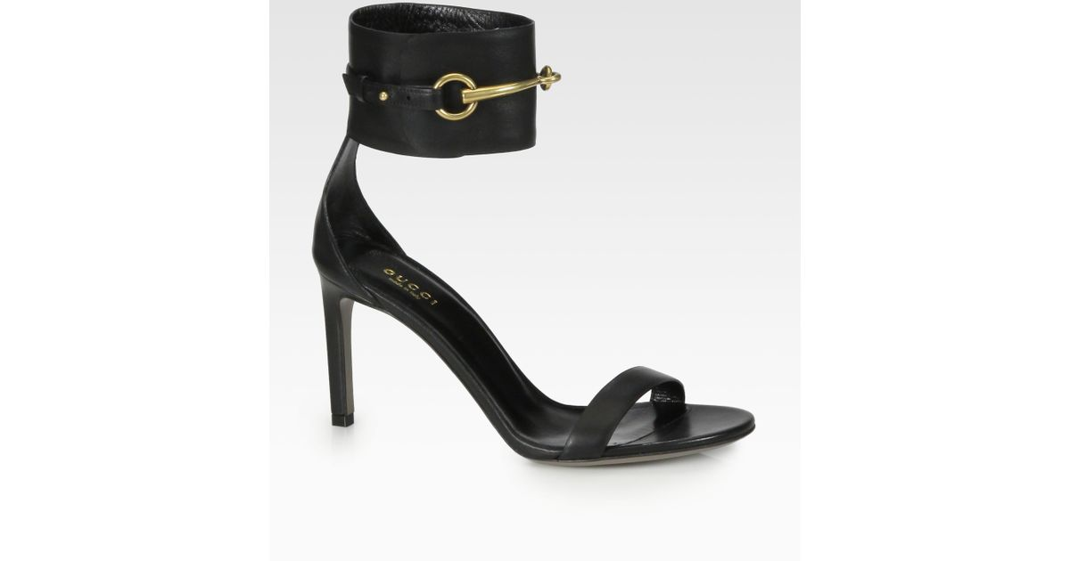 57eb54b00cc Lyst - Gucci Ursula Leather Horsebit Sandals in Black