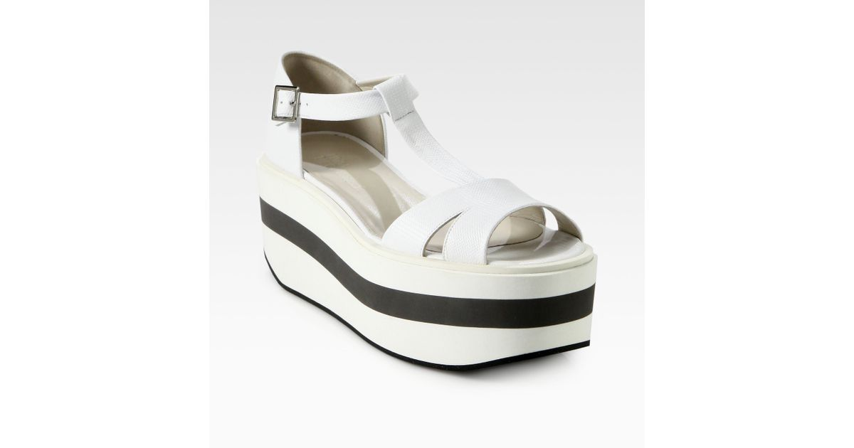 bd7a07fc657 Lyst - Jil Sander Navy Textured Leather Platform Sandals in White