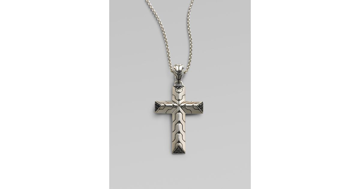 Lyst john hardy silver cross pendant with sapphires small in lyst john hardy silver cross pendant with sapphires small in metallic for men mozeypictures Choice Image