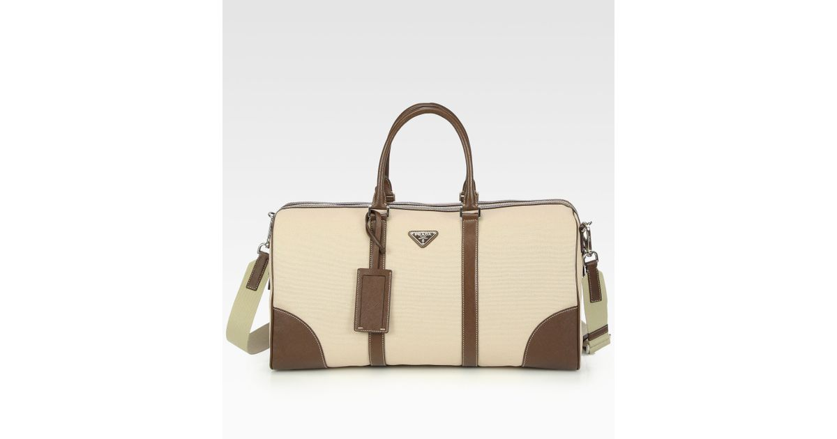 c57585f5d37762 Prada Canvas and Leather Tote Bag in Natural for Men - Lyst