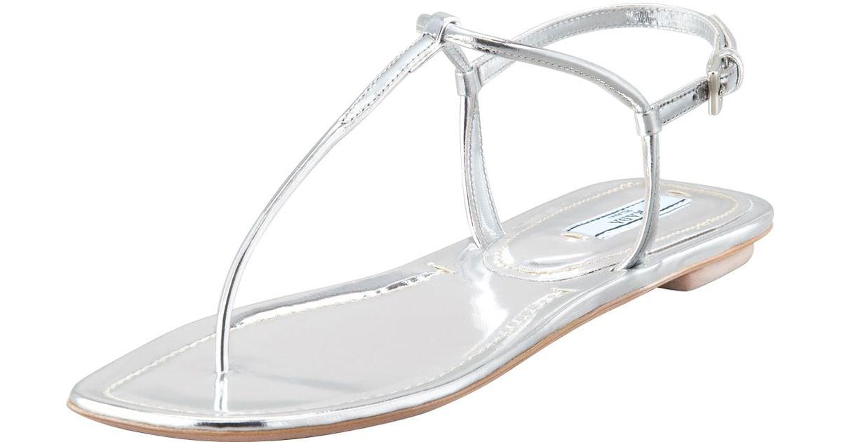 a7dbd5e2fc2 Lyst - Prada Flat Metallic Leather Thong Sandal Silve in Metallic