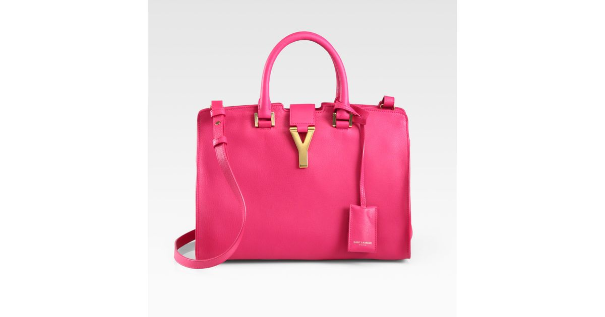 Saint laurent Petite Y Line Top Handle Bag in Pink (claret red) | Lyst