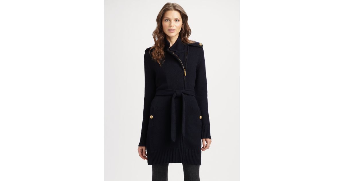 New Lyst - Tory Burch Merino Wool Sweater Coat in Blue AF33