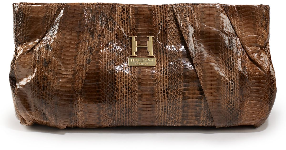 Lyst - Halston Alice Snakeskin Clutch whiskey in Brown 887ab0c2b5ad8
