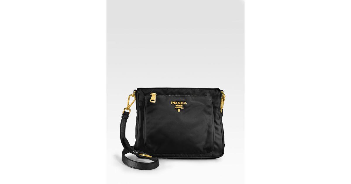 116ecbe73b7bd2 ... australia lyst prada nylon saffiano leather mini messenger bag in black  edccc 50f10