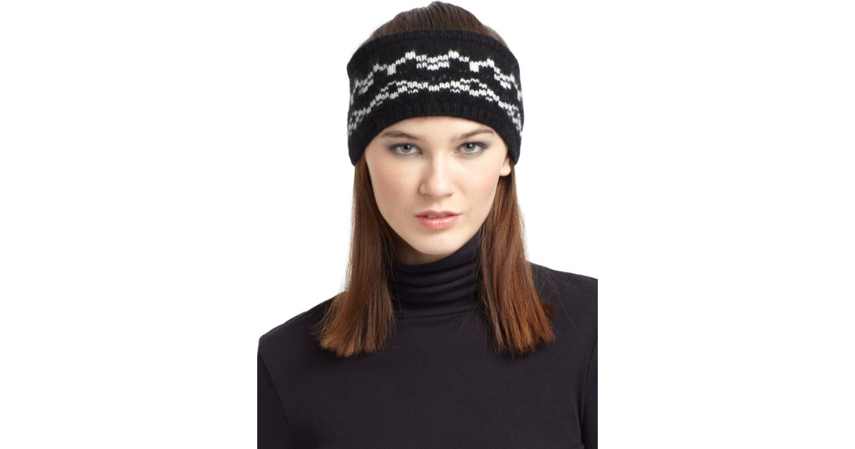 Qi Fair Isle Cashmere Headband in Black | Lyst