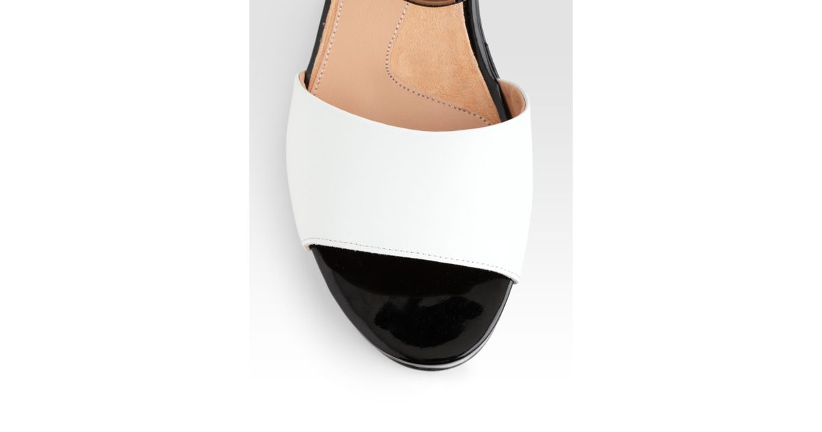 1b31ae222ec Lyst - Robert Clergerie Ekora Bicolor Patent Leather Platform Sandals in  Black