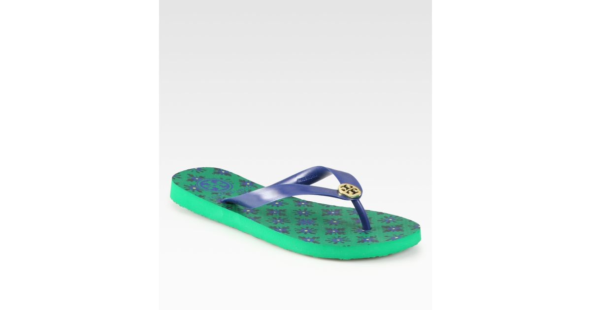 0bb9a0dab Lyst - Tory Burch Tb Flip Flops in Green
