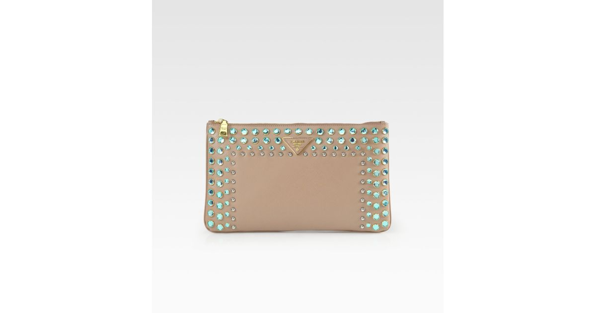 light blue prada handbag - prada jewelled saffiano clutch