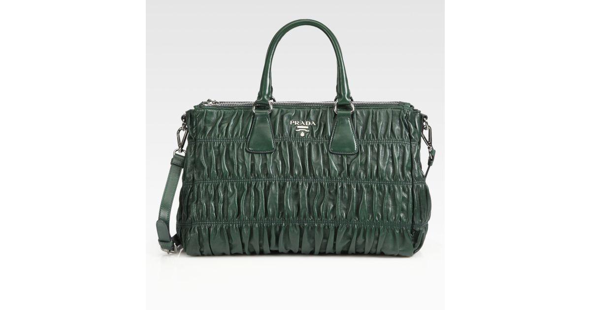 07f374a03c87c4 aliexpress prada emerald green leather hobo bag tradesy 6dc9b 64d84; new  zealand lyst prada nappa gaufre shopping bag in green 788ce fb876