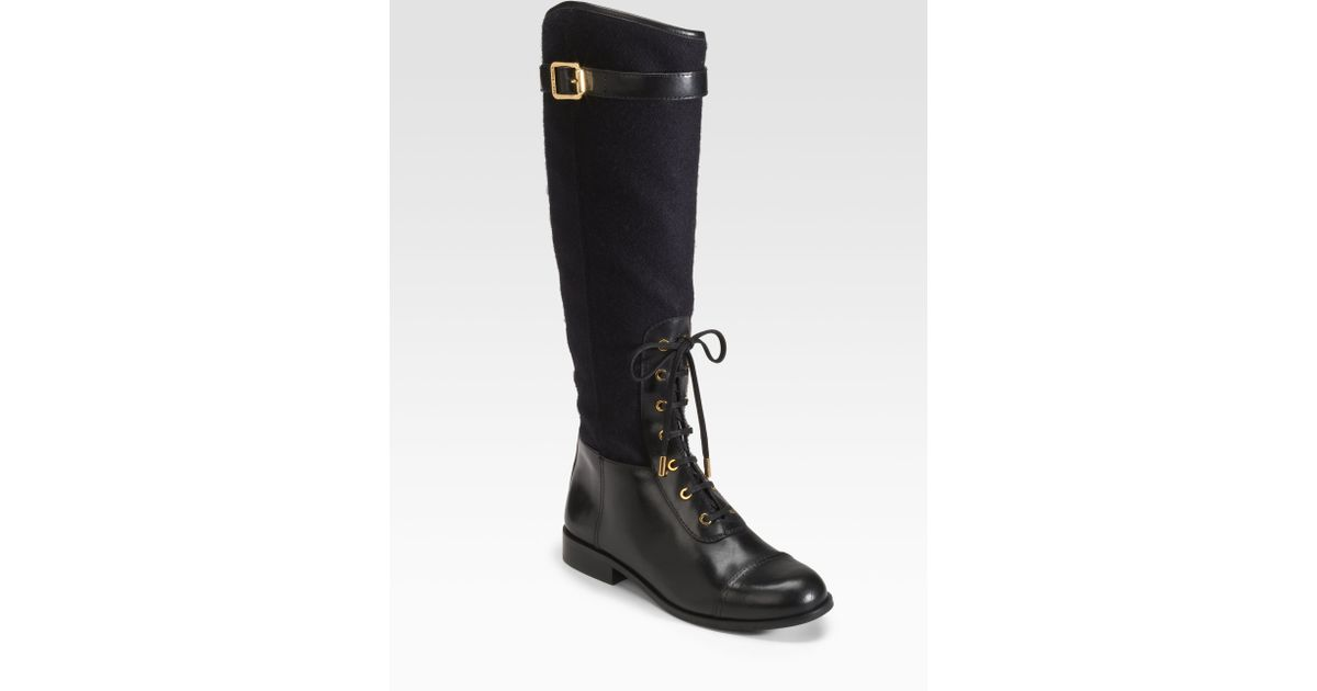 dd1dc88e90422 ... italy lyst tory burch brent laceup leather and flannel riding boots in  black 5449c 051e4
