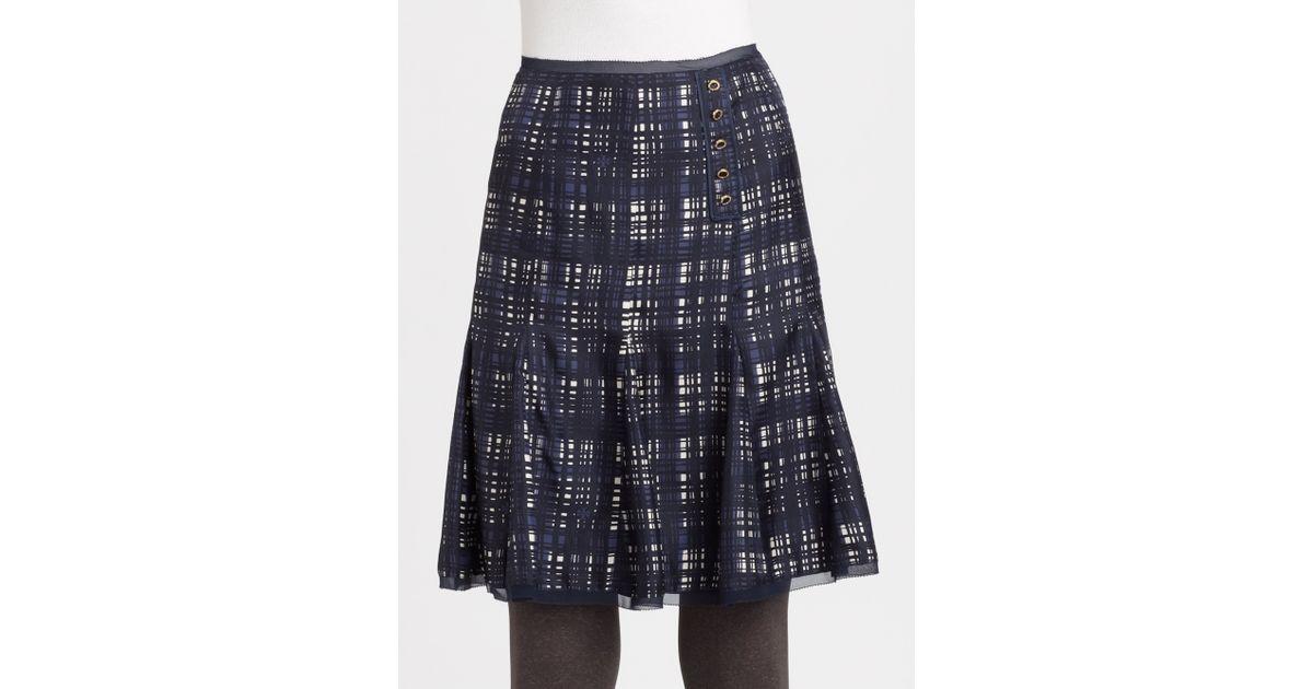 b94103831e41 Tory Burch Silk Wess Skirt in Blue - Lyst