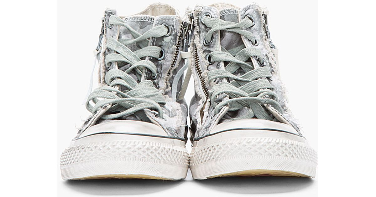 all star converse gray jt7m  Converse Grey Camo Chuck Taylor All Star Double Zip Duck Canvas Hitops in  Gray for Men  Lyst