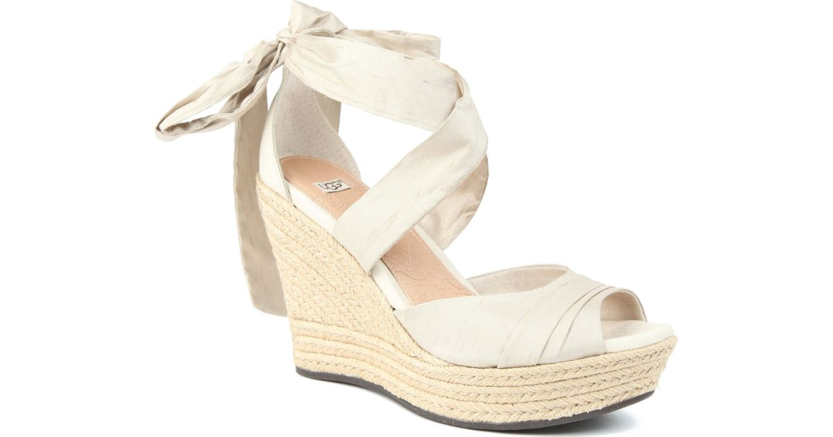 5544e2aefe9 UGG Lucianna Silk Wedge Sandals in White - Lyst