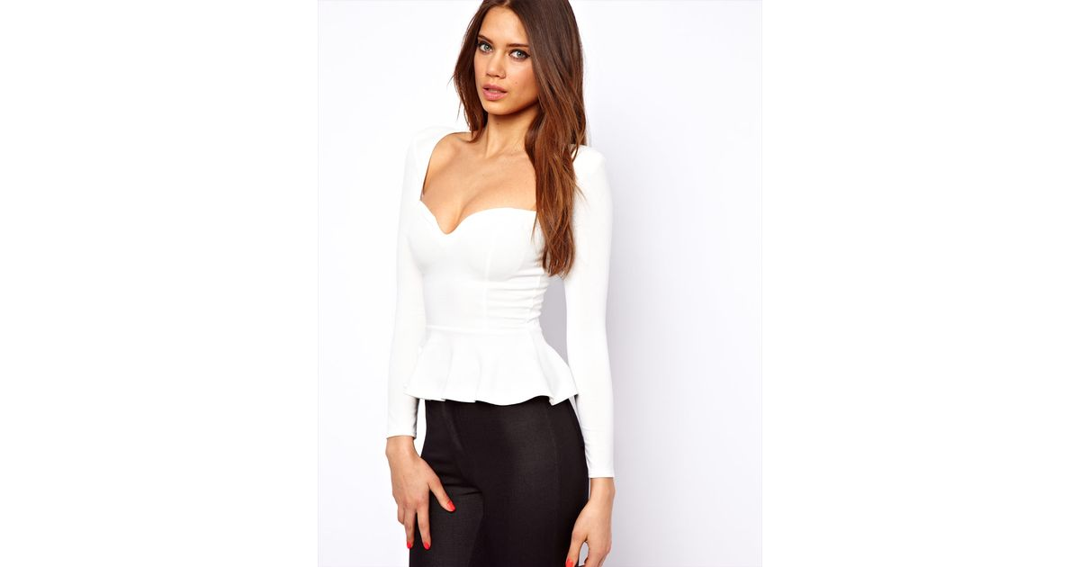 78aee5c0a0 Lyst - ASOS Oh My Love Peplum Top with Sweetheart Neckline in White