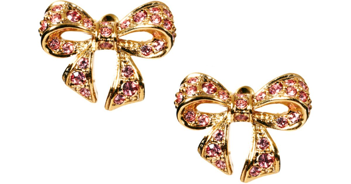 Lyst Ted baker Pave Crystal Small Bow Earrings in Pink