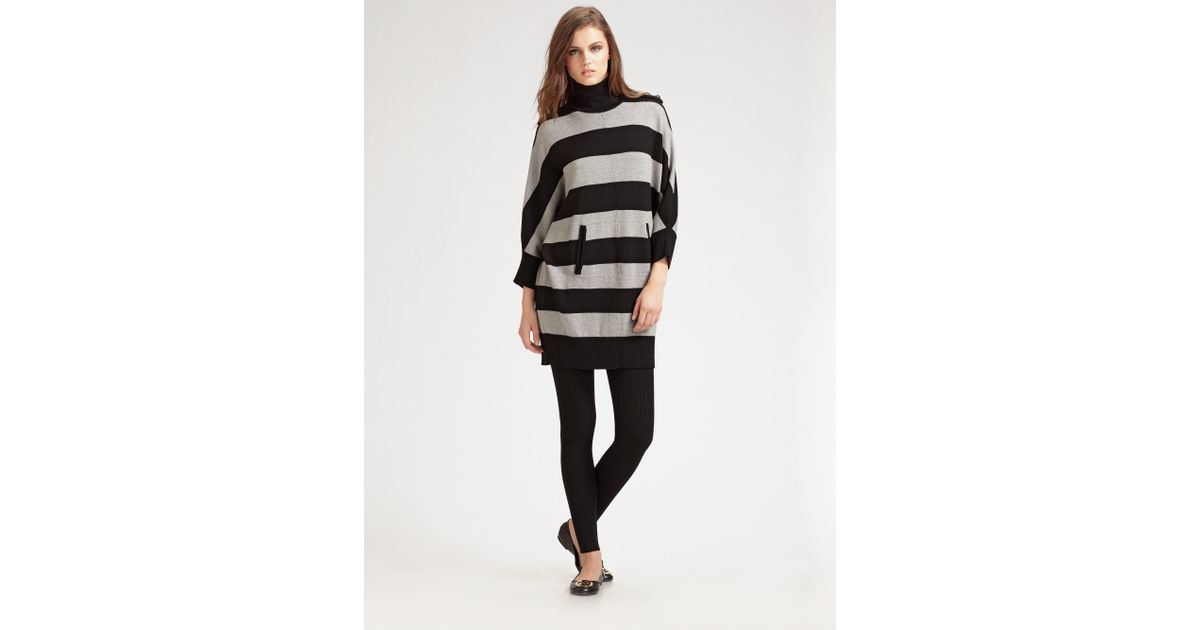 eab9ec5a02a Lyst - Tory Burch Striped Wool Sweater Dress in Black