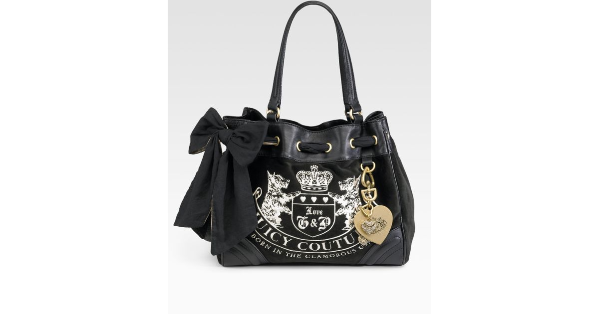 802c025b5608 Lyst - Juicy Couture Velour Heritage Crest Dreamer Bag in Black