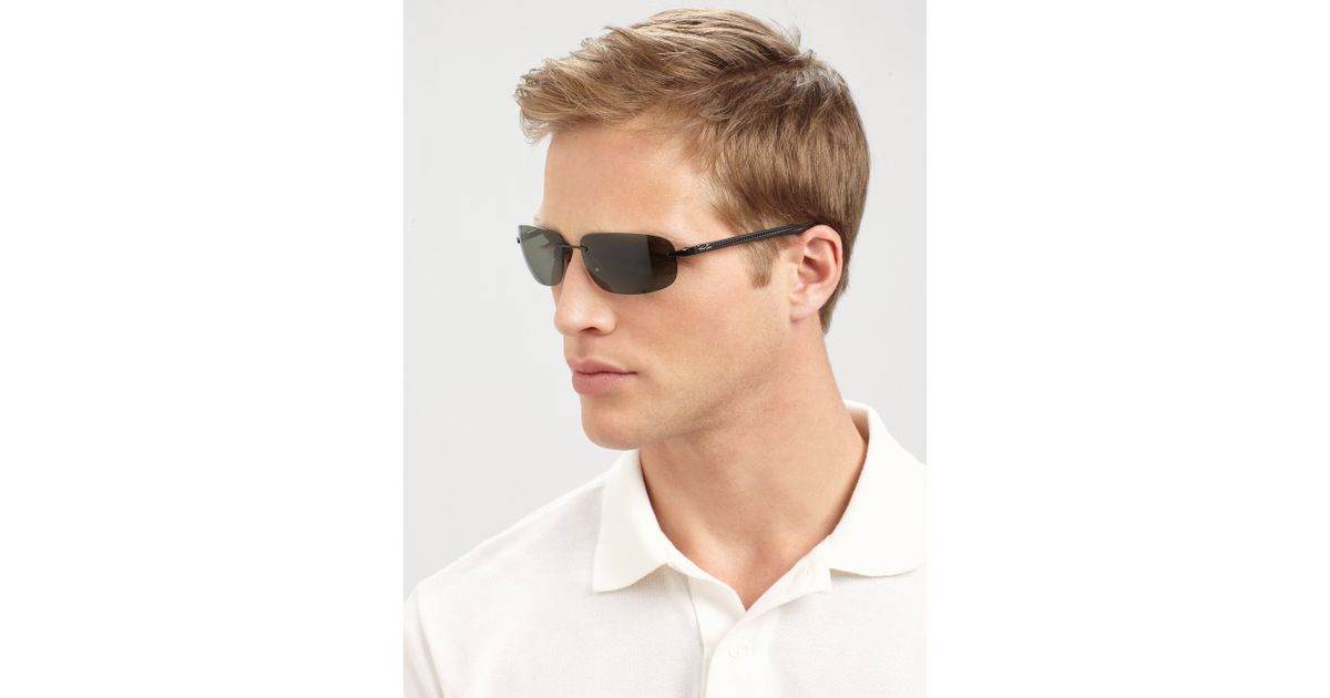 Rimless Sunglasses Ray Ban  ray ban tech rimless metal sunglasses in black for men lyst