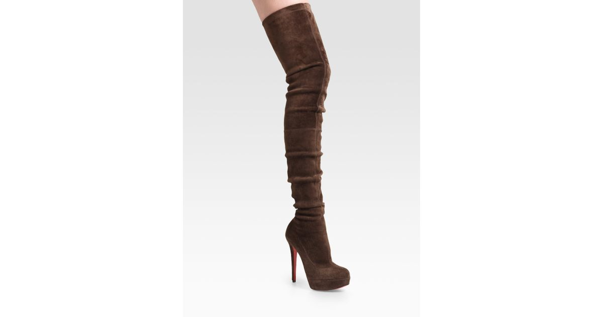 8618a989eed Lyst - Christian Louboutin Gazolina Suede Over-the-knee Boots in Brown