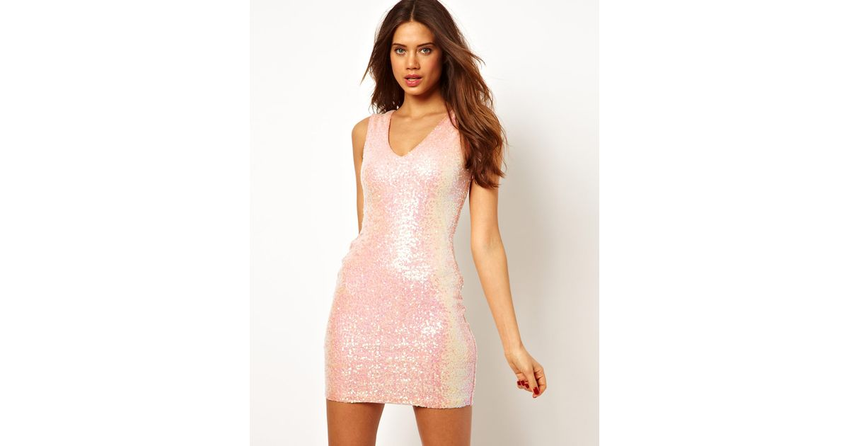 c5d3548be65 Lipsy Mini Dress in Iridescent Sequin in Pink - Lyst