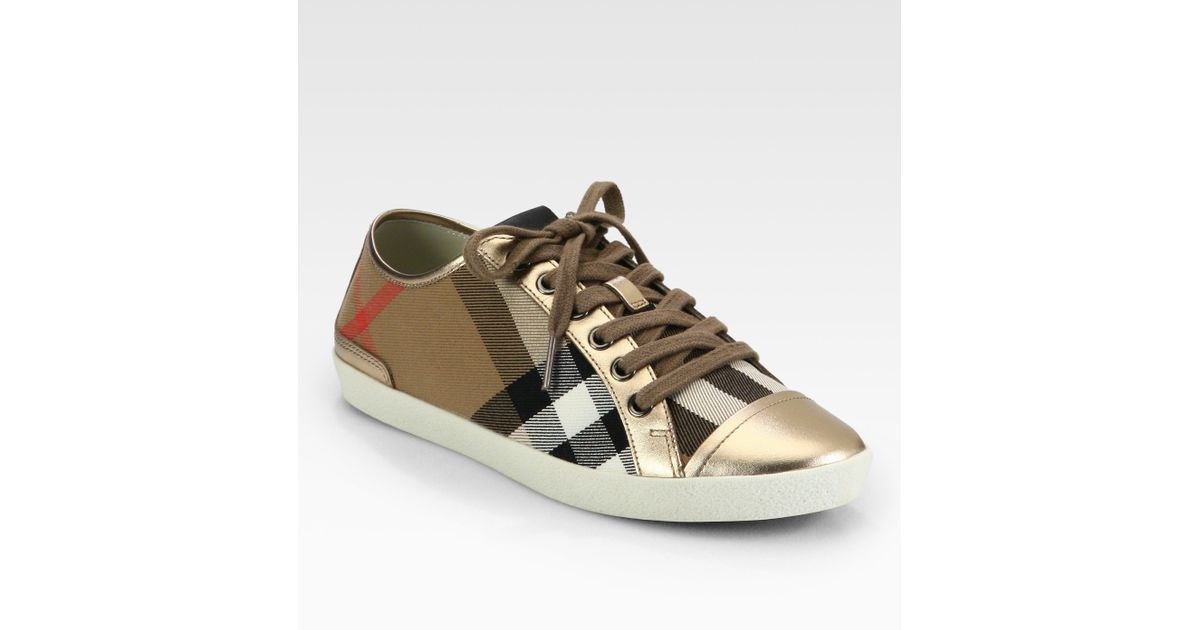 burberry logo canvas metallic leather sneakers in brown lyst