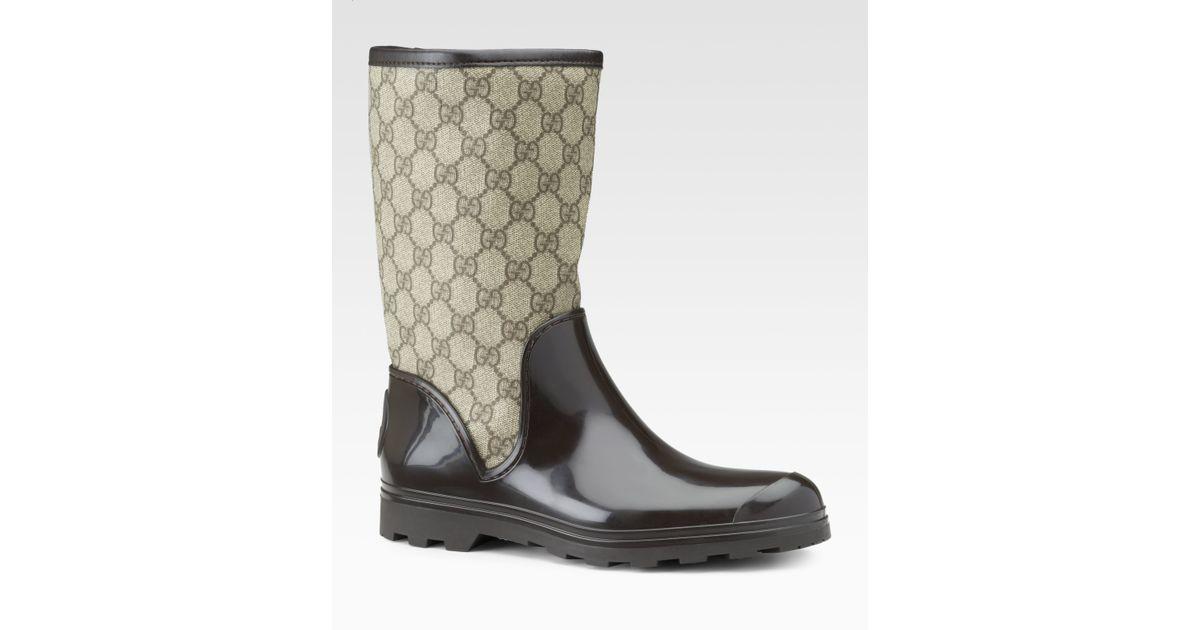 Gucci Prato Flat Rainboots in Brown | Lyst
