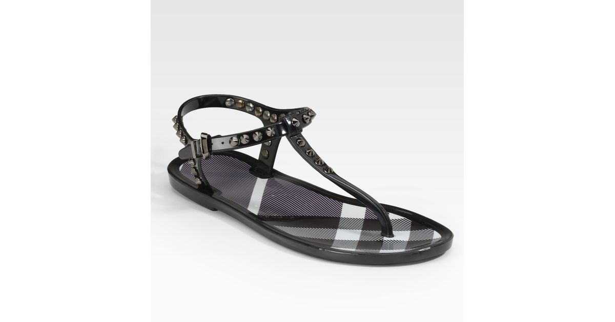 37c4a31c167 Lyst - Burberry Jelly Thong Sandals in Black