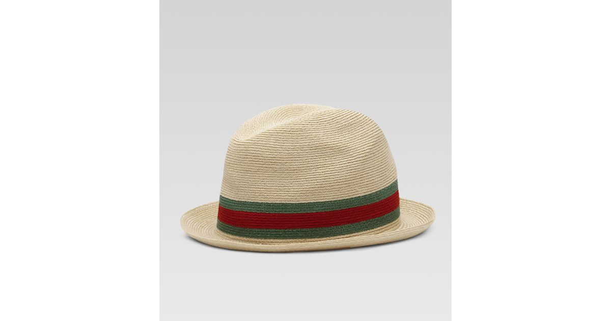 Lyst - Gucci Fedora Straw Hat in Natural for Men b97d23a5b024