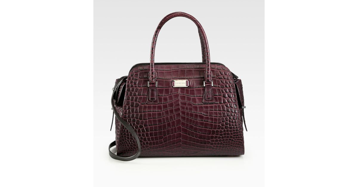 bfccdb0f76ff Michael Kors Gia Crocodile Embossed Leather Satchel in Red - Lyst