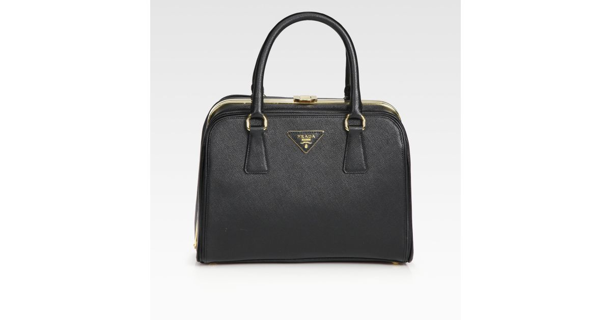 f798dabe6368 ... usa lyst prada saffiano borsa cerniera top handle bag in black 341ce  caa94