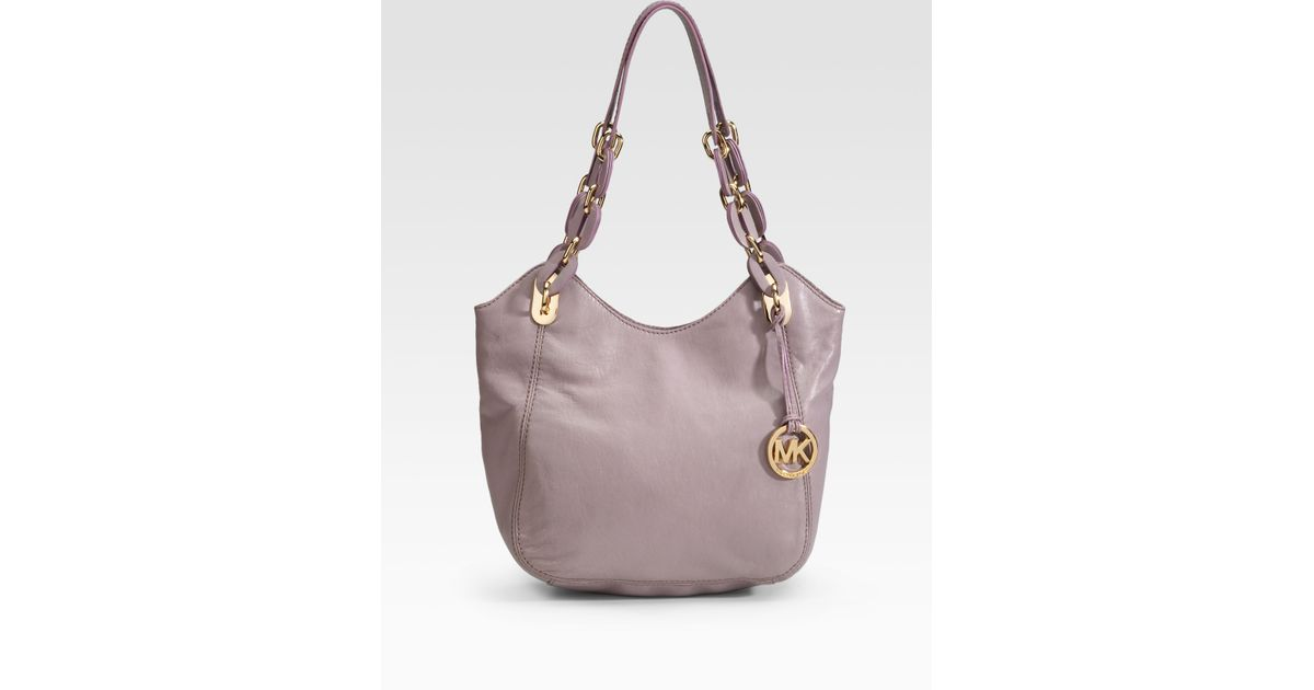 53367a83189b13 ... low cost lyst michael michael kors lilly leather tote in purple 68b53  e0b4b