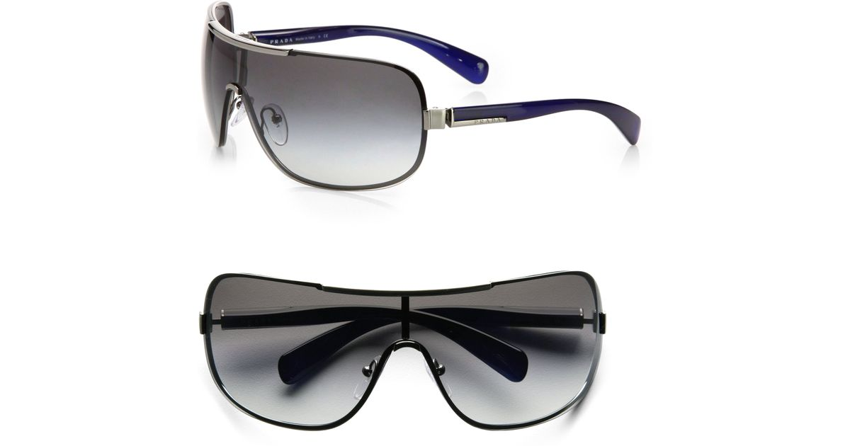 Prada Shield Sunglasses  prada oversized metal shield sunglasses in gray for men lyst