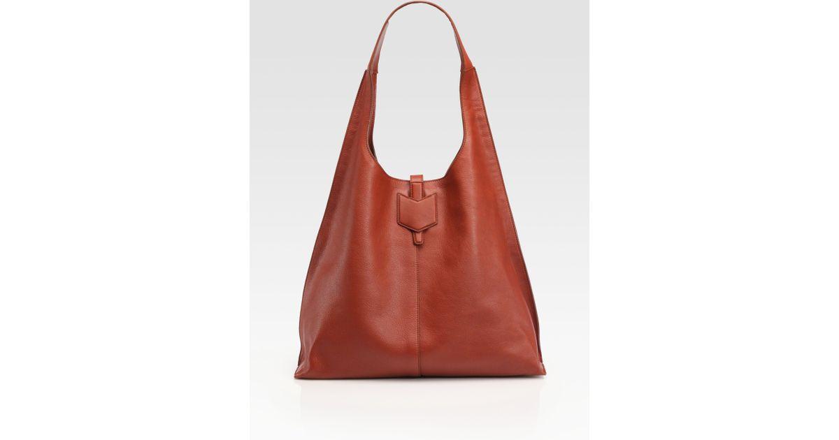 Saint laurent Ysl Leather Hobo Bag in Brown (black) | Lyst